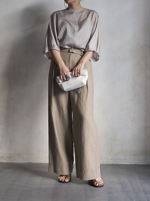 Phlannel/Linen Belted Wide Trousers
