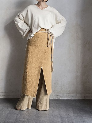 VillD/linen wrap 2way skirt