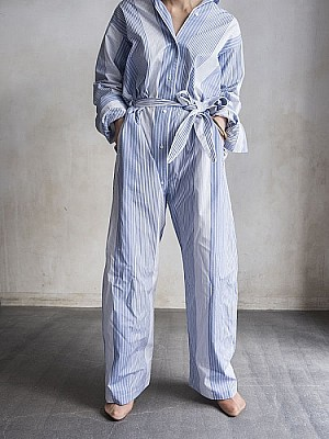 WRYHT/ NIGHT SUITS MAXI LENGTH - FRENCH BLUE STRIP