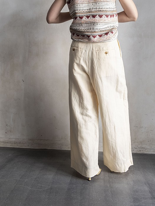 Phlannel/Linen Cotton Wool Twill Wide Trousers