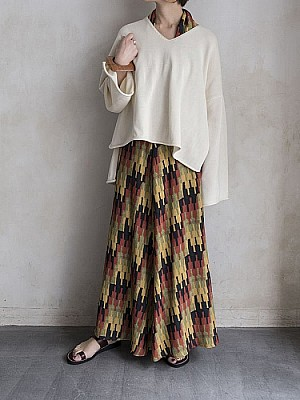 VillD/geometric long skirt