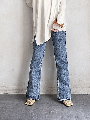 HOLIDAY/	HIGH WAIST SKINNY FLARE DENIM PANTS