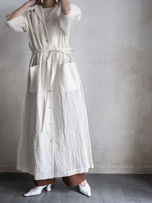 Phlannel/Cotton Linen Voile Open Collared Dress