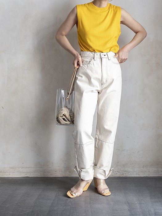 SEA/VINTAGE RELAX DENIM PANTS WITH TALL CUFF