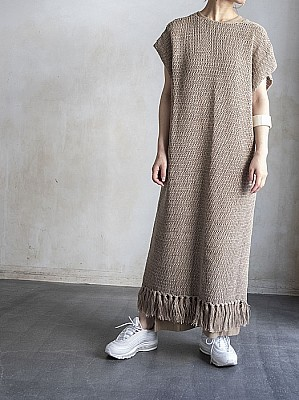 VillD / Linen knit caftan dress[SALE]