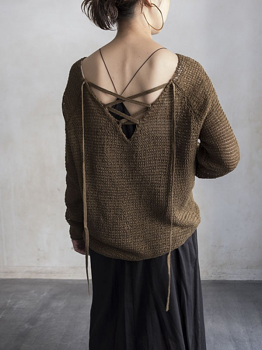 SEA/Lace-up Linen Sweater