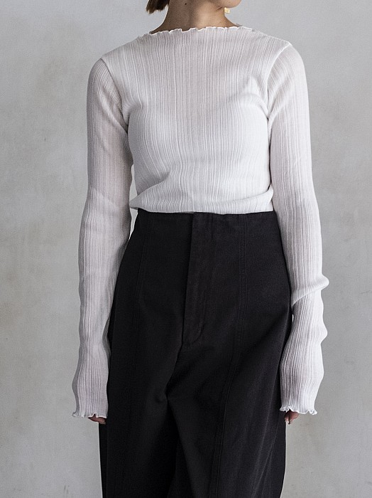 PHEENY/Cotton nylon rib frill crew neck