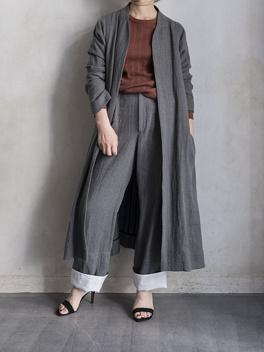 VillD/wool linen long jacket