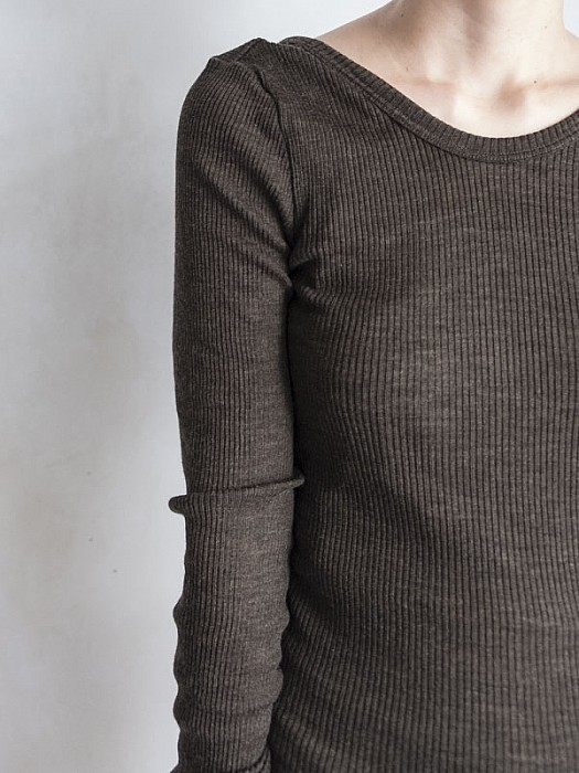 HAKUJI/Wool Rib Jersey Long Sleeve