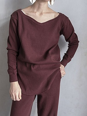 WRYHT/curved neck robed top  [SALE]