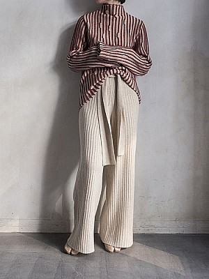 Lautashi/stripe knit tops