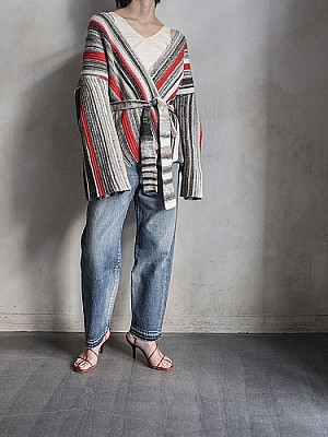 CURRENTAGE/stripe knit cardigan  [SALE]